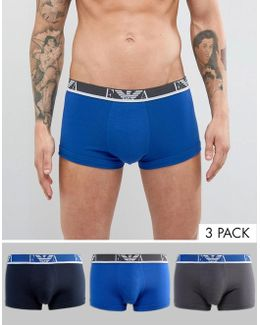 3 Pack Logo Trunks In Blue/navy/gray