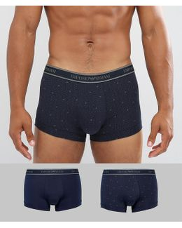 2 Pack Logo Trunks In Navy Spot