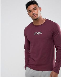 Slim Fit Long Sleeve T-shirt In Burgundy