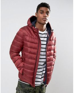 Aerons Quilted Hooded Jacket In Burgundy