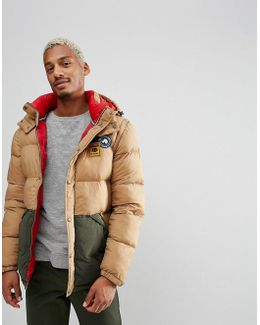 Artic Padded Hooded Puffer Jacket In Tan