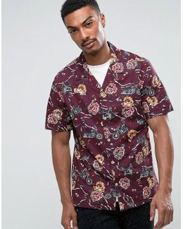 Man Regular Fit Short Sleeve Shirt In Purple Floral Print