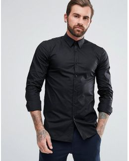 By Boss Smart Shirt In Black Stretch Slim Fit