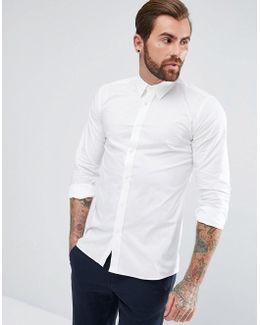 Elisha Extra Slim Fit Stretch Poplin Shirt In White