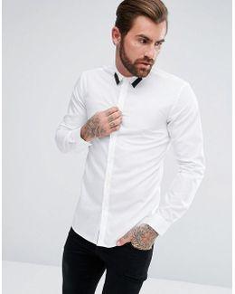 Elsom Extra Slim Poplin Tipped Collar In White