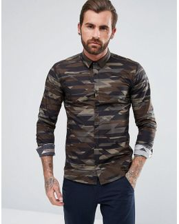 Ero 3 Extra Slim Camo Print Shirt In Khaki