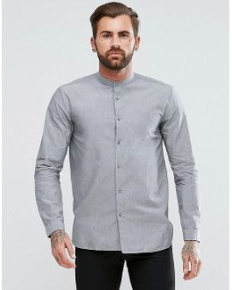 Eddison Slim Fit Grandad Collar Cotton Shirt In Grey