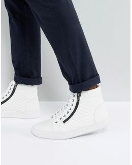 Punted Zip Hi Top Trainers In White