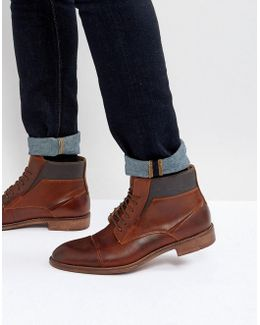 Quibb Leather Boots In Cognac