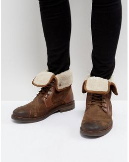 Turntup Suede Warm Boots In Tan