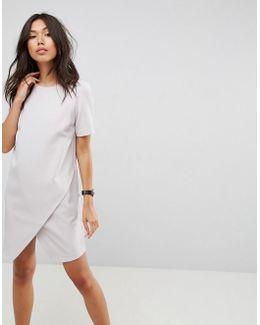 Asymmetric Clean Shift Dress With Short Sleeve