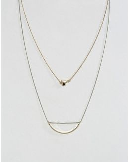Asymmetric Shapes Multirow Necklace