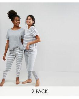 2 Pack Breton Stripe Tee & Legging Pyjama Set