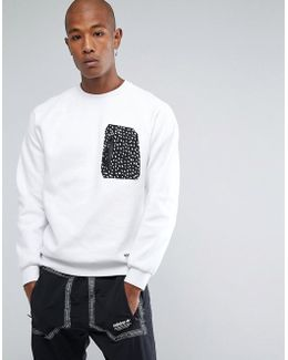 Nmd Pocket Crew Neck Sweat In White Bs2490