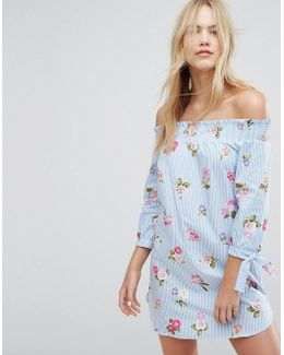 Floral Printed Stripe Bardot Dress