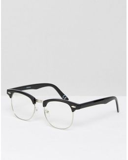 Retro Glasses In Black With Clear Lens