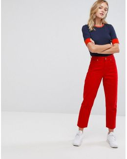 Taiki Red Crop Jeans