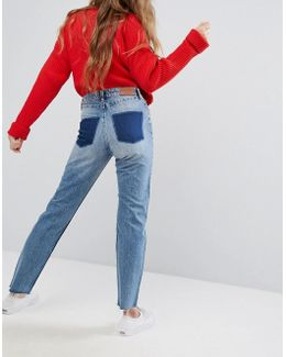 Dye Patch Pocket Mom Jeans