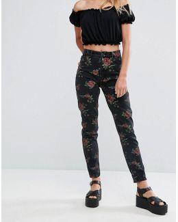 Floral Print Kimomo Mom Jeans