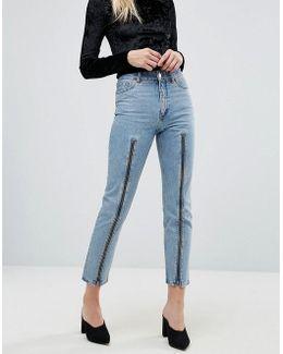 Zip Front Straight Leg Jeans