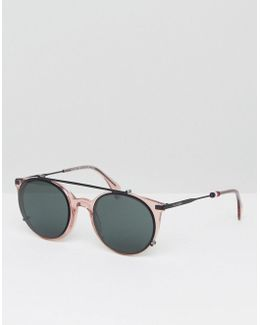 Metal Round Sunglasses In Pink