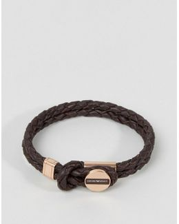 Plaited Bracelet In Brown & Bronze