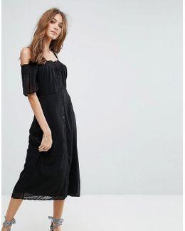 Cold Shoulder Crochet Midi Dress