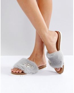 Lyra Grey Faux Hur Embellished Slides