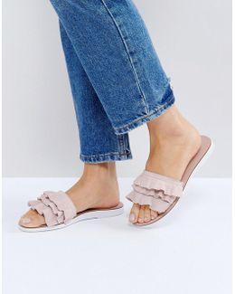 Laria Blush Suede Ruffle Flat Sandals