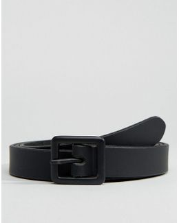 Skinny Leather Belt In Black With Matte Coated Buckle