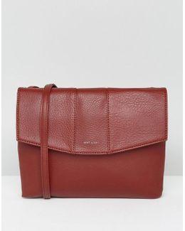 Foldover Cross Body Bag In Deep Red