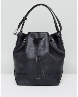 Drawstring Shoulder Bag In Black