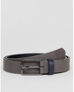 Slim Belt In Grey Faux Leather And Contrast Navy Keeper