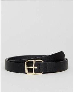Slim Belt In Black Faux Leather And Double Gold Keeper