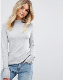 Stand Neck Fine Gauge Sweater