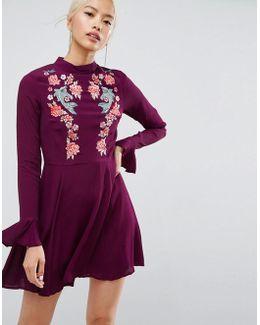 Embroidered Trumpet Sleeve Mini Dress