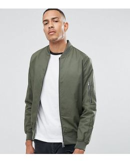 Tall Cotton Bomber Jacket With Sleeve Zip In Khaki