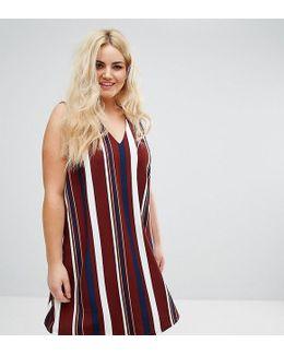 Plus Stripe V Neck Shift Dress