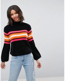 Jumper In Chenille With Stripes