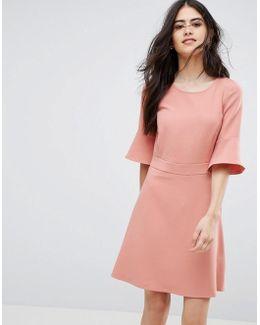Fluted Sleeve Dress