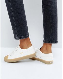 Coaster Sneakers In Off White With Gum Sole
