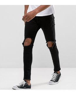 Jeans In Skinny Fit With Open Knees And Cut Off Hem