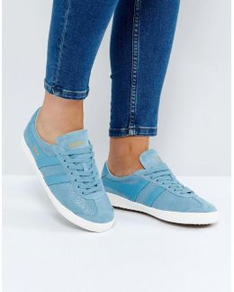 Specialist Trainers In Crackled Leather In Baby Blue