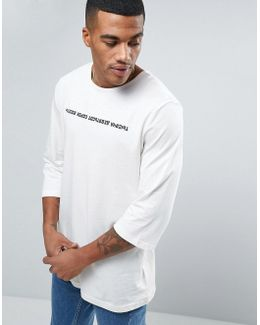 3/4 Sleeve Russian T-shirt In White 57443401