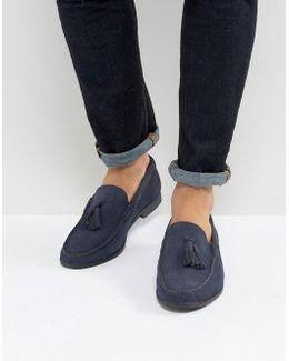 Tassel Loafers In Navy Suede