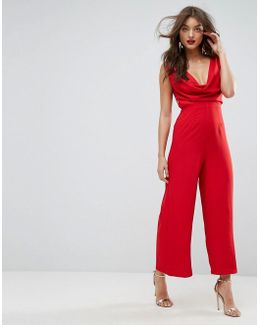 Jumpsuit With Cowl Neck