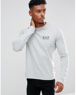Chest Logo Long Sleeve T-shirt In Grey