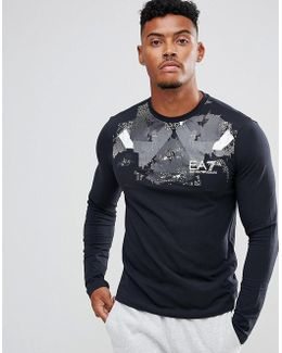 Graphic Chest Print Long Sleeve Stretch T-shirt In Navy