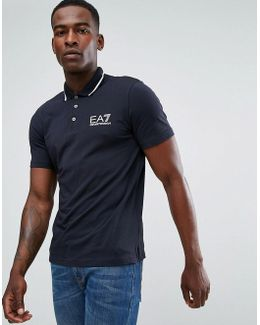 Logo Tipped Stretch Polo Shirt In Navy