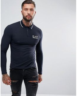 Logo Tipped Stretch Long Sleeve Polo Shirt In Navy